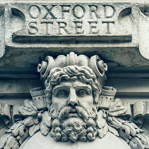 Oxford Street carved stone street sign, London, UK:スマホ壁紙(壁紙.com)
