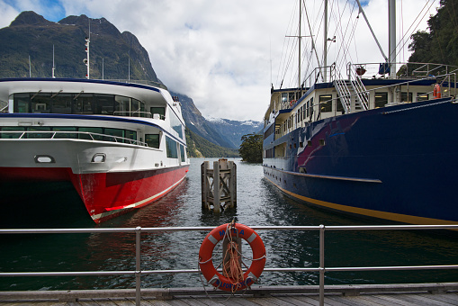 春「Tour boats docked at Milford Sound Wharf.」:スマホ壁紙(4)
