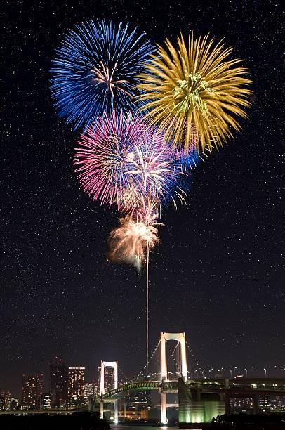 レインボーブリッジと花火のまとめ:2007年12月20日(壁紙.com)