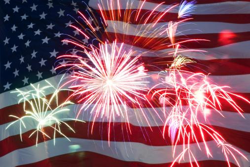 Fourth of July「Fireworks and American flag」:スマホ壁紙(15)