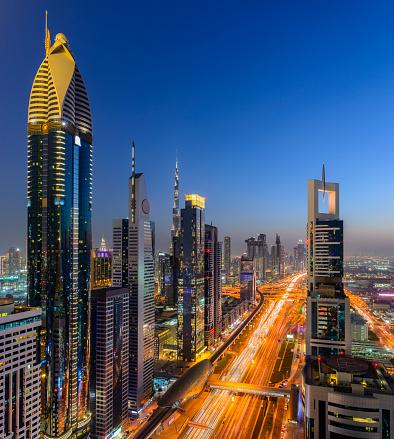 Sheikh Zayed Road「Downtown Dubai City Skyline at Sunset, United Arab Emirates.」:スマホ壁紙(16)