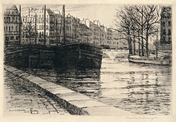 Water's Edge「'The Pont St Michel', 1915. Artist: Caroline Helena Armington.」:写真・画像(5)[壁紙.com]