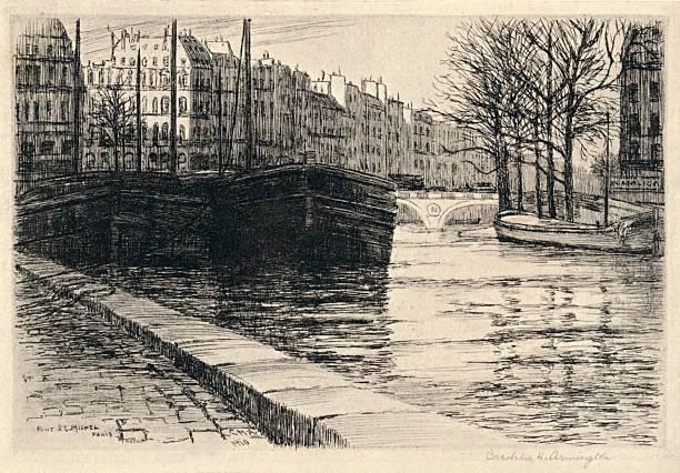 'The Pont St Michel', 1915. Artist: Caroline Helena Armington.:ニュース(壁紙.com)