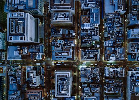 Tokyo - Japan「Ariel view of Ginza, Tokyo at night.」:スマホ壁紙(8)