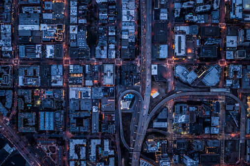 Urban Road「Ariel view of San Francisco, USA at night.」:スマホ壁紙(16)