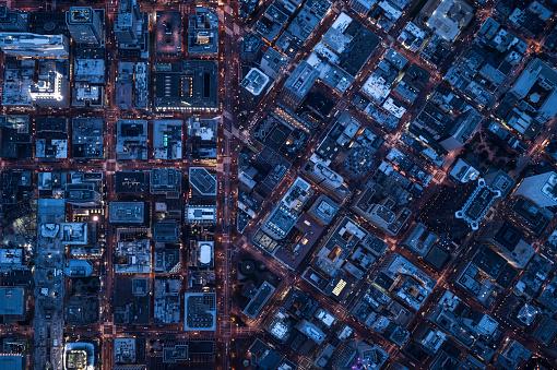California「Ariel view of San Francisco, USA at night.」:スマホ壁紙(2)