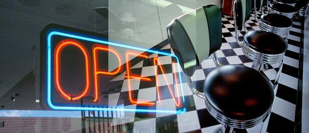 Fast Food Restaurant「Neon sign and diner interior.」:スマホ壁紙(11)
