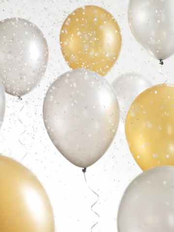 結婚「Gold and Silver Balloons with Confetti」:スマホ壁紙(12)