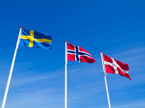 Scandinavia「The raised flags or Norway Sweden and Denmark」:スマホ壁紙(8)