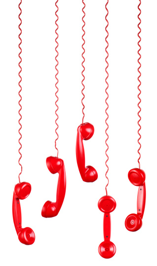 Hello - Single Word「Red Phones Hanging on a White Background」:スマホ壁紙(10)