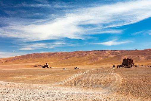 Volcano「Monjes de Pacana rock formation in Los Flamencos National Reserve at the Atacama desert, Chile, January 18, 2018」:スマホ壁紙(6)