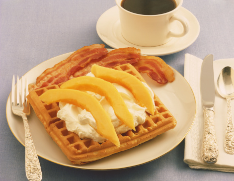 1980-1989「Waffle with cream and black tea, close-up」:スマホ壁紙(9)
