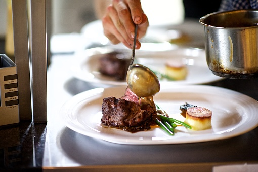 Human Hand「Steak on a plate being prepared in a Chef's kitchen sauce being poured」:スマホ壁紙(9)