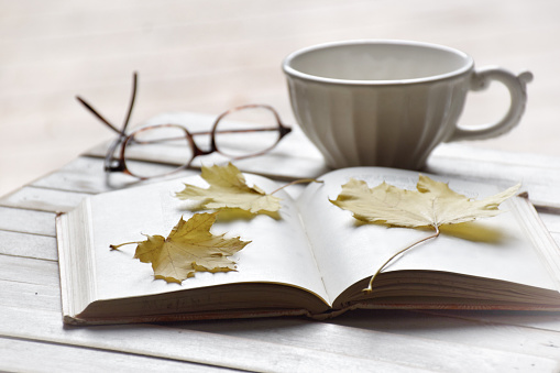紅葉「Maple leaves on open book with tea cup and glasses」:スマホ壁紙(18)