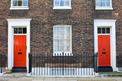 Wrought Iron「Brick Facade with Red Front Doors London England」:スマホ壁紙(9)