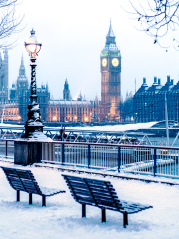 Thames River「Houses of Parliament in the snow, London, UK」:スマホ壁紙(13)