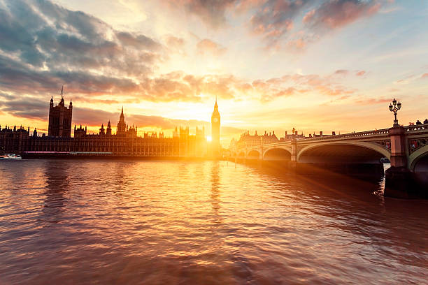 Houses of Parliament and Westminster Bridge at sunset in London:スマホ壁紙(壁紙.com)