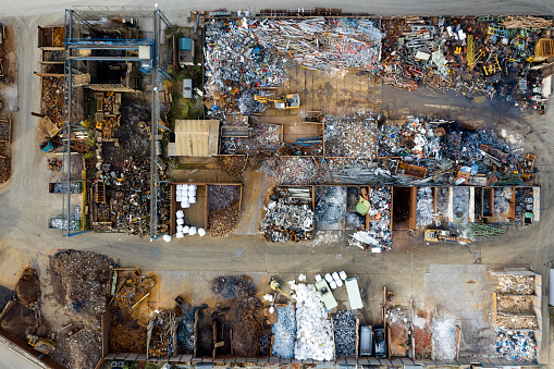 Construction Vehicle「Metal recycling yard from above」:スマホ壁紙(5)
