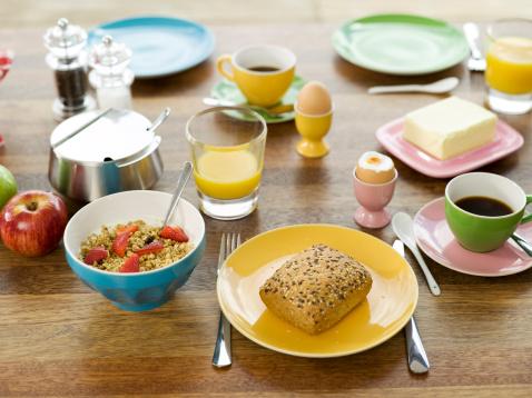 ゆで卵立て「Breakfast on table, elevated view」:スマホ壁紙(14)