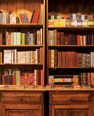 Bookstore「Notebooks on shelves in store」:スマホ壁紙(14)
