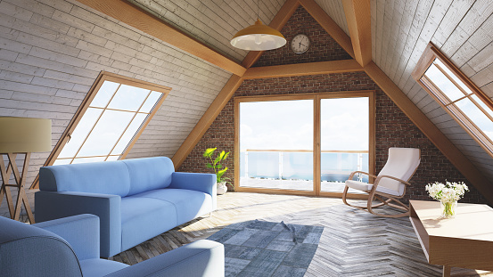 Rocking Chair「Loft attic living room concept」:スマホ壁紙(17)