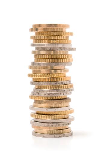 金運「積み上げられた硬貨」:スマホ壁紙(19)