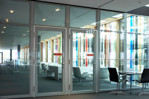 Rainbow「Office park lobby with a row of meeting chairs」:スマホ壁紙(1)