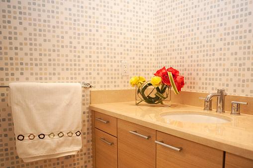 Pompano Beach「Sink and towel in modern bathroom」:スマホ壁紙(10)