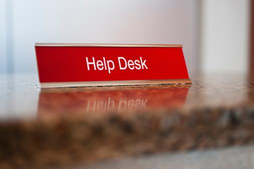 Hotel Reception「USA, New Jersey, Jersey City, Help desk sign」:スマホ壁紙(3)