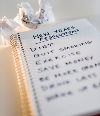 New Year「USA, New Jersey, Jersey City, close up of notebook with list of resolutions for new year」:スマホ壁紙(5)