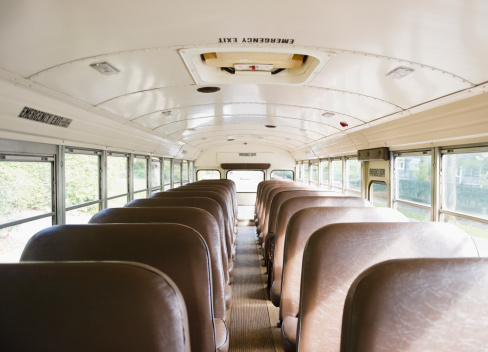 Bus「USA, New Jersey, Montclair, Interior of school bus」:スマホ壁紙(2)
