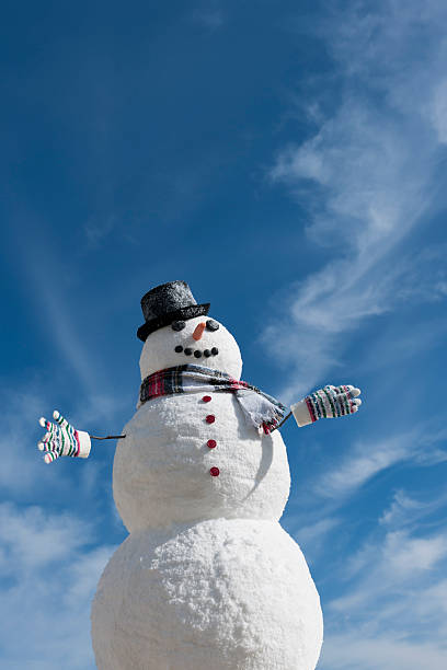 USA, New Jersey, Jersey City, Snowman under blue sky:スマホ壁紙(壁紙.com)