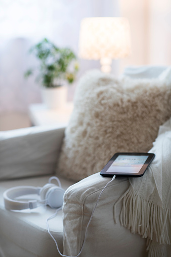 Headphones「USA, New Jersey, Armchair with digital tablet and headphones」:スマホ壁紙(17)