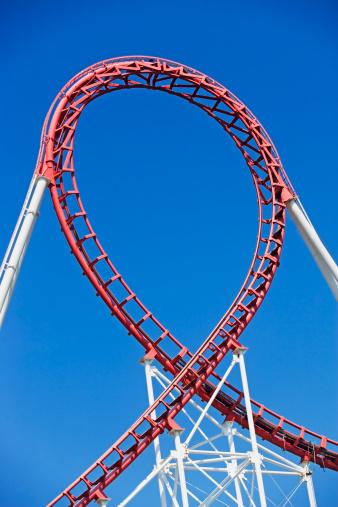 Rollercoaster「USA, New Jersey, Jackson, Rollercoaster against blue sky」:スマホ壁紙(16)