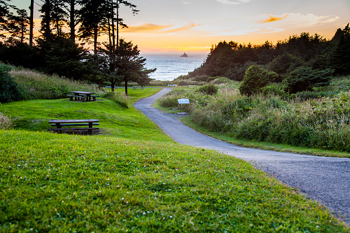 Cannon Beach「Path in park overlooking sunset and ocean」:スマホ壁紙(14)