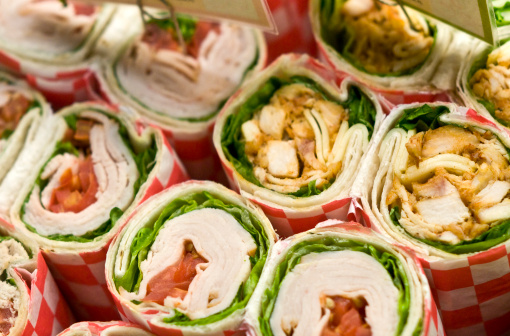 Buffet「Rows of deli wrap sandwiches with various fillings」:スマホ壁紙(19)