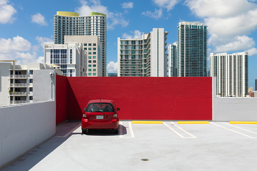 Miami「one Red car in red parking lot」:スマホ壁紙(7)
