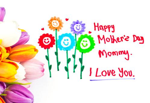 母の日「お子様の母の日に花の絵」:スマホ壁紙(11)