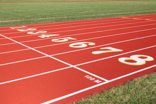 Track And Field「100 Meter Start Line on Red Eight Lanes Running Track」:スマホ壁紙(17)