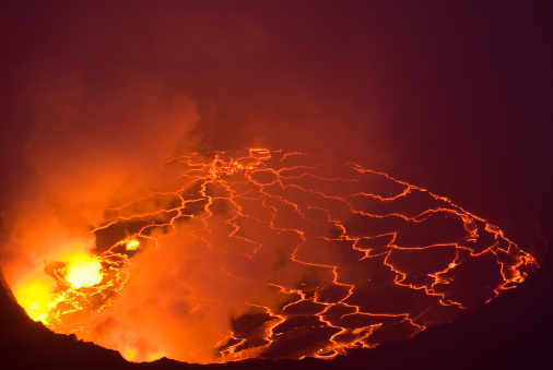 Democratic Republic of the Congo「Looking into a volcano crater with lava lake」:スマホ壁紙(12)