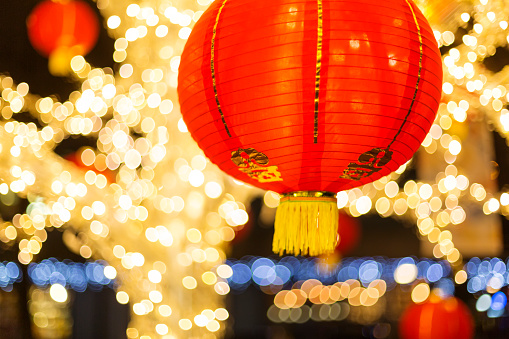 Chinese Lantern「Red and gold Chinese lantern with sparkling white lights in the background, Granville Island」:スマホ壁紙(7)