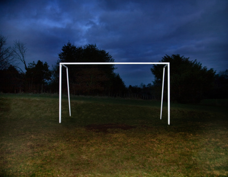 Goal Post「Soccer goal in field at night」:スマホ壁紙(2)