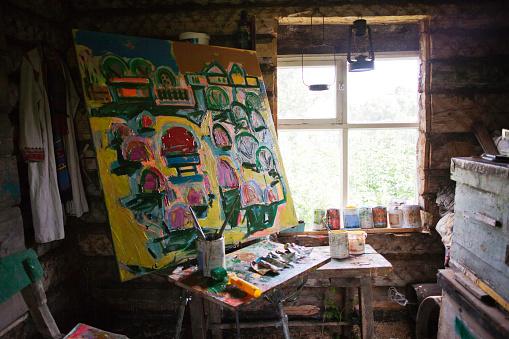 Oil Painting「Large painting in art studio」:スマホ壁紙(10)