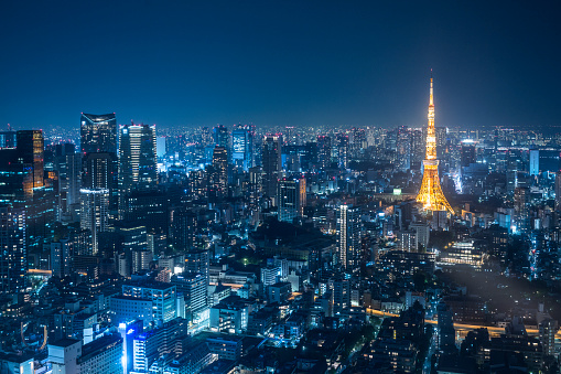 Nightlife「Night urban skyline and Tokyo Tower」:スマホ壁紙(6)