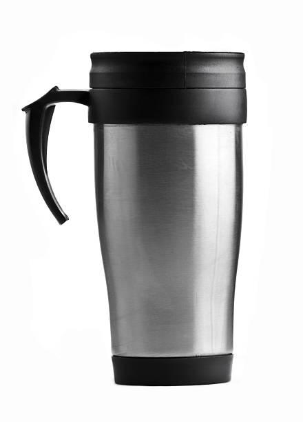 Stainless steel coffee mug on white background :スマホ壁紙(壁紙.com)