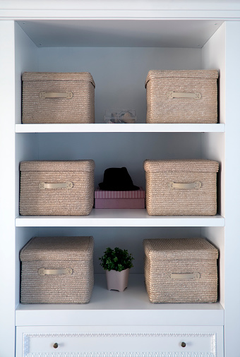 Neat「White shelved with tan boxes atop them」:スマホ壁紙(15)