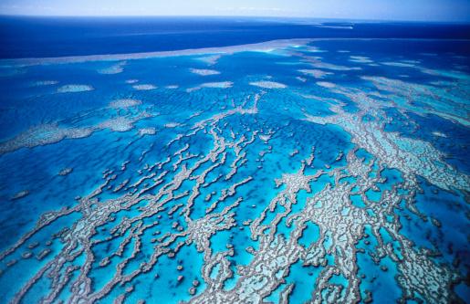 Queensland「Aerial of Great Barrier Reef, near Whitsunday Islands.」:スマホ壁紙(13)