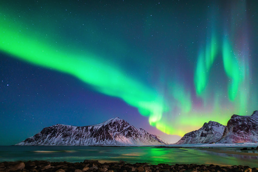 Norway「Mixed colorful aurora borealis dancing in the sky」:スマホ壁紙(0)