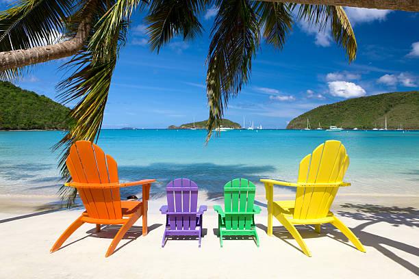 andirondack chairs at a beach in the Caribbean:スマホ壁紙(壁紙.com)