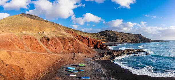 Atlantic Islands「Lanzarote, Canary Islands - Playa de El Golfo (6 shots stitched)」:スマホ壁紙(5)